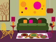Retro interiors by Natalie Singh, via Behance