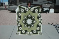 "This pattern ""Blue Star Afghan"" is from Herrschner's Book of Award Winning Afghans."