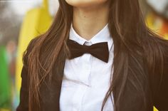 Who says a bowtie on a woman isn't classy?