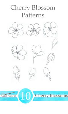 Free Cherry Blossom Patterns for painting, crafts, embroidery and more! Flower Drawing Tutorials, Flower Sketches, Doodle Drawings, Easy Drawings, Cherry Blossom Painting, Cherry Blossoms, Floral Drawing, Hand Embroidery Patterns, Paper Embroidery