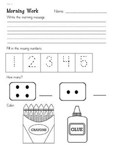 Worksheets Kindergarten Morning Worksheets morning work kindergarten and mornings on pinterest