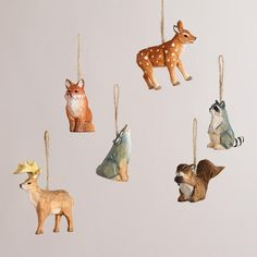 One of my favorite discoveries at WorldMarket.com: Wooden Woodland Animals Ornaments, Set of 6