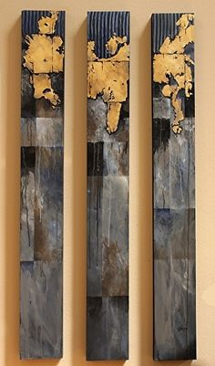 New World Trilogy    14016 by Carol Nelson mixed media ~ 48 x 18