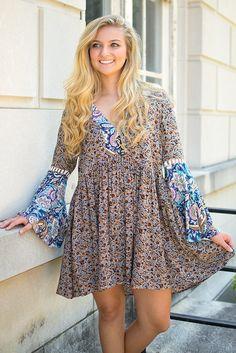Umgee Paisley Perfect Dress - Navy