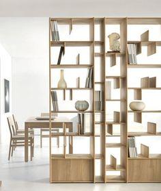 Wall-mounted wooden #bookcase ESPACE by Domus Arte | #design Enrico Bedin