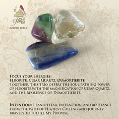Get your energy focused with Fluorite, Clear Quartz, and Dumortierite. Use gems for crystal healing. #CrystalHealing