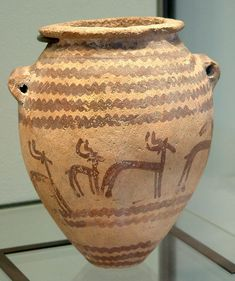 Ancient Eqypt.  A archetypal Naqada II pot decorated with gazelles.This philosophy manufactured a diverse selection of material goods, reflective of the increasing authority and treasures of the rich, which included painted pottery. In South-East Europe & China around 3500 B.C.E onwards clay and pottery began. In modern times the use of the motor driven wheel had taken over from manual turning producing stunning pieces.