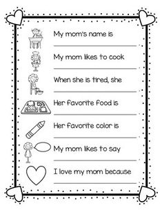 Geschenk Vatertag: Use this fun writing activity during Mother& Day as students answer questio. Mothers Day Crafts For Kids, Fathers Day Crafts, Toddler Crafts, Preschool Crafts, Classroom Crafts, Classroom Ideas, Fun Writing Activities, Class Activities, Holiday Activities