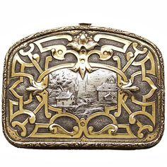 c.1880 French silver gilt evening bag purse
