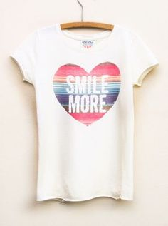 Smile More heart tee for girls  #kids  $32  www.junkfoodclothing.com