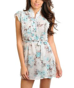 Take a look at this White & Blue Floral Ruffle Silk-Blend Dress by 24|7 Frenzy on #zulily today!