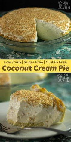 A low carb pie perfect to serve on holidays. This sugar free coconut cream pie recipe has a light and flaky gluten free crust with a smooth creamy filling. | LowCarbYum.com via @lowcarbyum