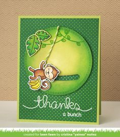 Lawn Fawn - Critters in the Jungle, Big Scripty Words, Slide On Over, Cross-Stitched Circle Stackables _  the Lawn Fawn blog: Lawn Fawn Video {5.31.16} A Monkey Slider Card by Yainea!