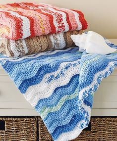 Crochet this cute baby blankie using Mary Maxim's self-striping Baby Blankie yarn.