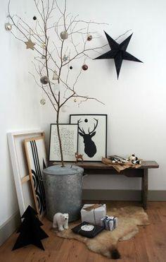 Monochrome modern Christmas decorations with alternative Christmas tree