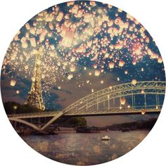 Lanterns Over Paris Circle Wall Decal