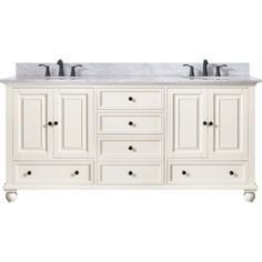 Avanity THOMPSON-VS72-FW-C Thompson Double Bowl Bathroom Vanity with White Marble Top French White   #country #rustic #bathroomideas #bathroomvanity #bathroomdesign