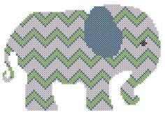 Cross Stitch Chevron Elephant Pattern for 5 x 7 - PDF FILE PATTERN. $6.95, via Etsy.