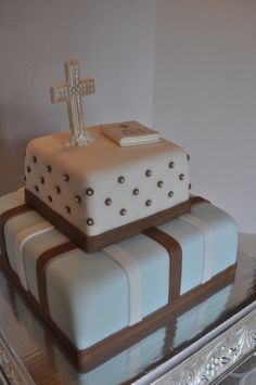 Boy's Communion Cake - Made this for the owner of the certified kitchen I bake from, his son's first communion.