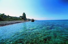 Calabria, Roseto Capo Spulico: the 13th- century Swabian castle, an evocative backdrop for the lucky bathers of today