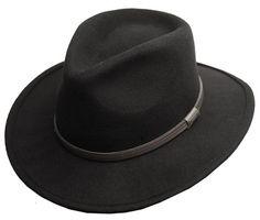 Men's Crushable Wool Felt Outback Wide Brim Classic Safari Fedora Hats HE44 #Epoch #WideBrim