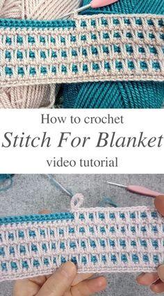 Crochet Stitches For Blankets, Crochet Stitches Patterns, Baby Blanket Crochet, Knitting Stitches, Crochet Afghans, Crochet Blanket Tutorial, Baby Afghan Patterns, Stitch Patterns, Crochet Stitch Tutorial