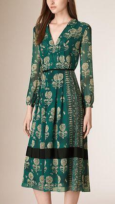Azul esverdeado Vestido evasê de seda com estampa floral - Imagem 1