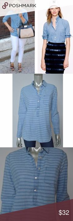 J Crew Striped Chambray Popover Jean Denim Shirt J Crew Striped Chambray Popover Jean Denim Casual Tunic Womens Shirt Top sz 2 Total length is 26 inches. Bust is 40 inches, unstretched Excellent Condition J. Crew Tops Button Down Shirts