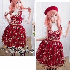 Punk Rock Knee Length Red Dress