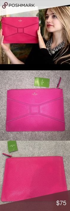 HPKATE SPADE GIA BRIDGE PLACE  CLUTCH NWT KATE SPADE GIA BRIDGE PLACE SWEETHEART PINK LEATHER CLUTCH.                                                                                               ❗️Reasonable Offers Appreciated  ❗️No Trades ❗️If interested use offer feature to make offer not the comment section, thank you. kate spade Bags Clutches & Wristlets