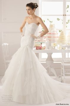 aire barcelona 2015 bridal alber strapless fit and flare sweetheart neckline wedding dress