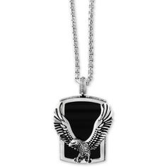 Effy Men's Onyx (31 x 20mm) Eagle Pendant Necklace in Sterling Silver... ($750) ❤ liked on Polyvore featuring men's fashion, men's jewelry, men's necklaces, silver, mens pendant necklace, mens eagle necklace, mens necklaces, mens black onyx necklace and mens watches jewelry
