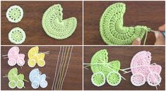 Make this adorable crocheted baby stroller applique We love all that are dedicated to little babies. Today we are going to talk about crocheting a baby stroller applique, just like the one that is p Beau Crochet, Love Crochet, Beautiful Crochet, Crochet Baby, Crochet Motifs, Crochet Poncho, Crochet Patterns, Crochet Crafts, Crochet Projects