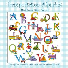 Have fun stitching this transportation alphabet sampler. Featuring trucks, trains, boats and other transportation icons in bright colors.      Mini Cross Stitch Pattern: Alphabet Transportation Sampler     Design Source: Pink Pueblo