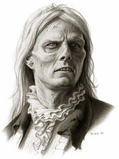 Interview with the Vampire conceptual artwork by make-up effects designer / illustrator Miles Teves for Stan Winston Studios. The picture is rendering of actor Tom Cruise as vampire Lestat de Lioncourt, and a make-up design for his swamped look. Gothic Horror, Horror Art, Horror Books, Tom Cruise, Westerns, Vlad The Impaler, Vampire Masquerade, The Vampire Chronicles, Interview With The Vampire
