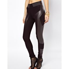 ASOS Leggings in High Waist with Leather Look Panel Detail ($20) ❤ liked on Polyvore featuring pants, leggings, asos, bottoms, jesy, faux leather panel leggings, high-waisted pants, fake leather leggings et high-waisted trousers