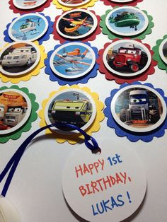 12 Disney Planes Fire and Rescue Party Tags, Cupcake Toppers, FREE Personalize, Disney Planes Party, Boy Birthday, Designs by AliA on Etsy, $7.49