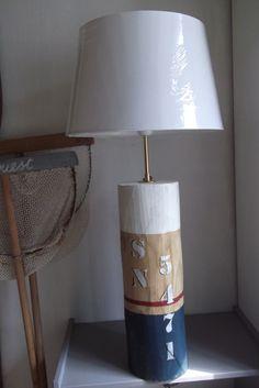 GRANDE LAMPE STYLE MARIN PATINE BORD DE MER EN BOIS MASSIF BRUT : Luminaires par ambiance-v-et-m                                                                                                                                                                                 Plus