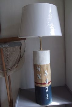 GRANDE LAMPE STYLE MARIN PATINE BORD DE MER EN BOIS MASSIF BRUT : Luminaires par ambiance-v-et-m