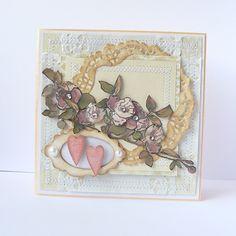 KARTKA ŚLUBNA ANNA CAROLINA . KARTKI Piękna i elegancka kartka ślubna. Stworzona metodą scrapbookingu z elementami 3D.