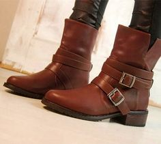 2014 New fashion women's motorcycle boots martin shoes woman buckle flat heel schuhe lady's zapatos 5 winter female boot