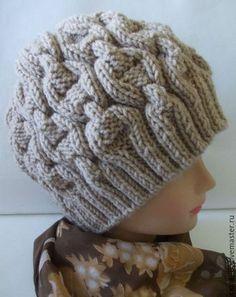 Шапки ручной работы. Ярмарка Мастеров - ручная работа. Купить Зимняя вязаная шапка для женщин. Handmade. Бежевый, рисунок