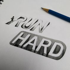Song Yong - Run Hard  #calligraphy #typography #3d #run #hard #graphite #pencil #sketch #drawing #art #traditionalart