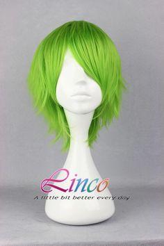 Green short 35cm long wig cosplay wig high by LincoFashionWigs, $15.99