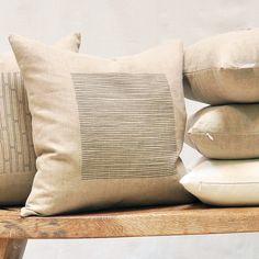 linen natural lines pillow