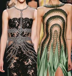 Reem Acra 2016 Fall Winter Collection has amazing detailed beading and lace - more at if it's hip, it's here