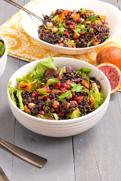 Black Rice Salad with Blood Orange Dressing. Perfect winter salad, great at room temperature or even cold! Vegan, gluten free, high protein, great source of fiber!