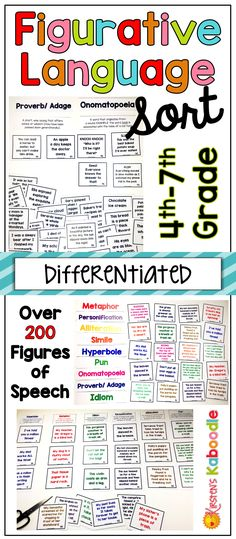 This interactive figurative language activity includes hyperboles, metaphors, similes, puns, proverbs/adages, idioms, onomatopoeia, personification, and alliteration. There are over 200 engaging figures of speech, that can be categorized in each area. Created for 4th, 5th, 6th, and 7th grade, this activity is perfect for individuals, pairs, small groups, or the whole class.  Color choices and answer sheets offer built-in differentiation choices so that teachers can meet the needs of ALL…
