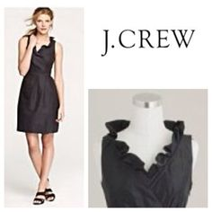 BNWT J Crew Blakely cotton sleeveless dress 12 Never worn! Black cotton, sleeveless dress with a romantic ruffled collar, cross over fitted bodice, side zipper, and pleated skirt. Dress is completely lined and hits above the knee. Measurements are: bust: 39, waist: 31.5, hips: 41.5. Retails for $118! J. Crew Dresses