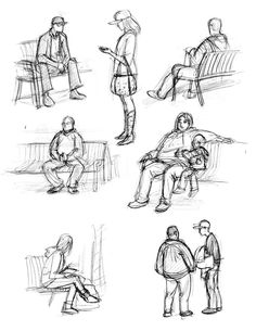 how to draw figures | Sketchbook Assignment # 28- Draw a people sitting.